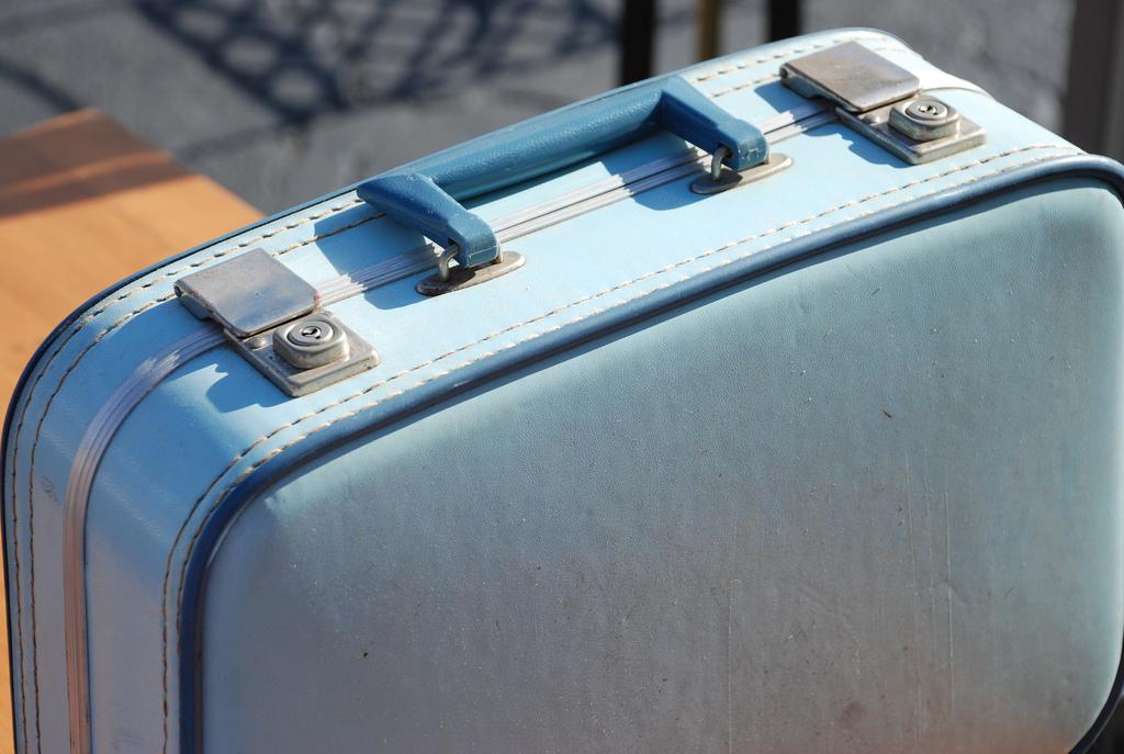 blue vintage suitcase