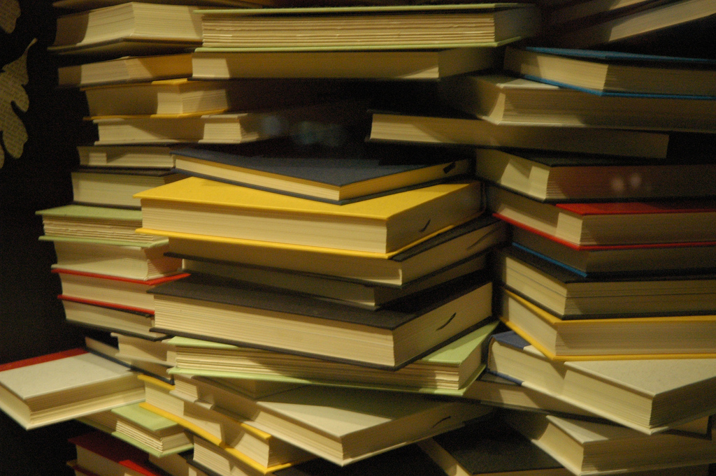 Stacks of books, Seattle, Washington, USA